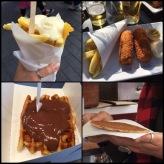 Fries, Beef Croquet, Waffles